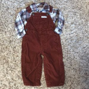 Carters corduroy overall outfit plaid button down